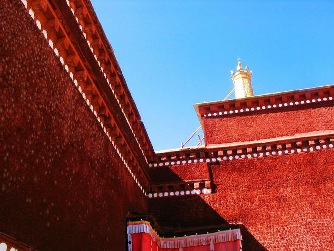 西藏风景  红色背景